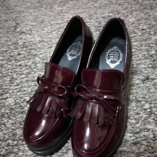 酒紅色 韓 流蘇 厚底鞋/增高鞋