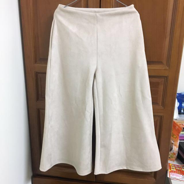 杏色 高腰 寬褲