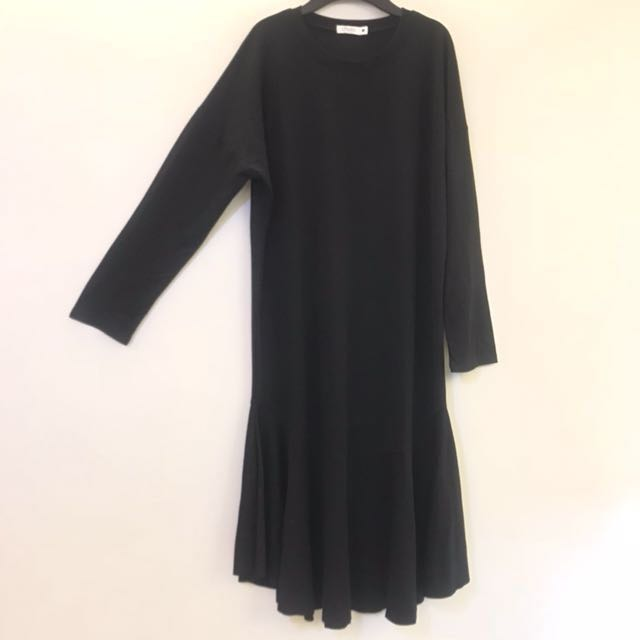 黑色 棉質 長版 魚尾裙襬 洋裝