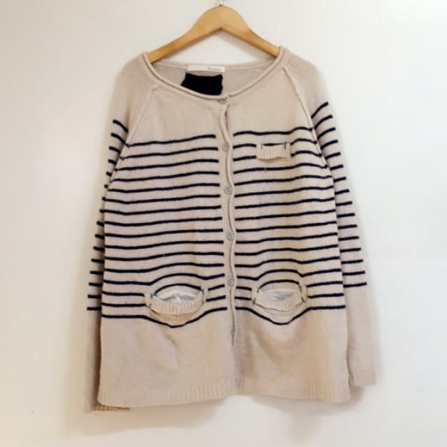 針織毛衣外套 日系 米色 L碼