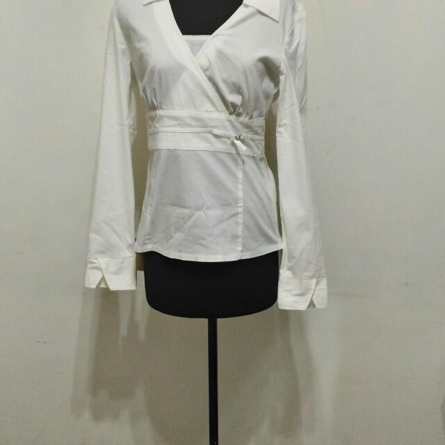 全新~ MEXX 白色長袖 (拉鍊) 襯衫 尺寸: UK10 CA36 US6