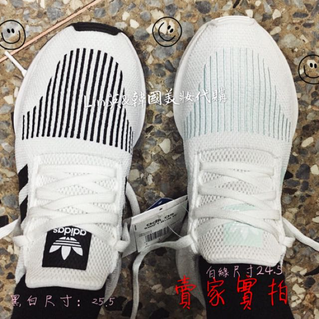 現貨adidas Swift Run黑白25.5、白綠24.5