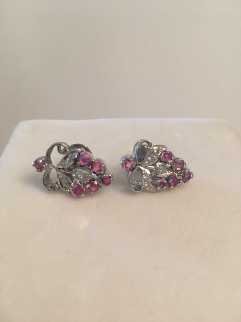 Antique screw back with rubies & diamonds