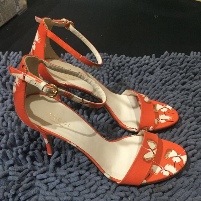 AUTHENTIC GUCCI PRINTED ORANGE CANVAS ANKLE STRAP HEEL SANDALS