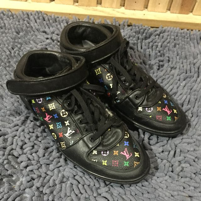 AUTTHENTIC LOUIS VUITTON MULTICOLOR LV MONOGRAM MURAKAMI MIDCUT SNEAKERS