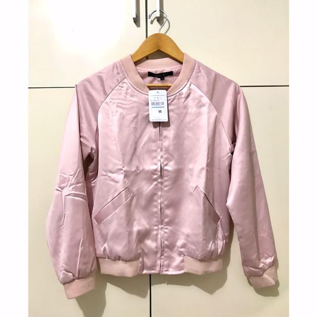 Baby Pink Sateen Bomber