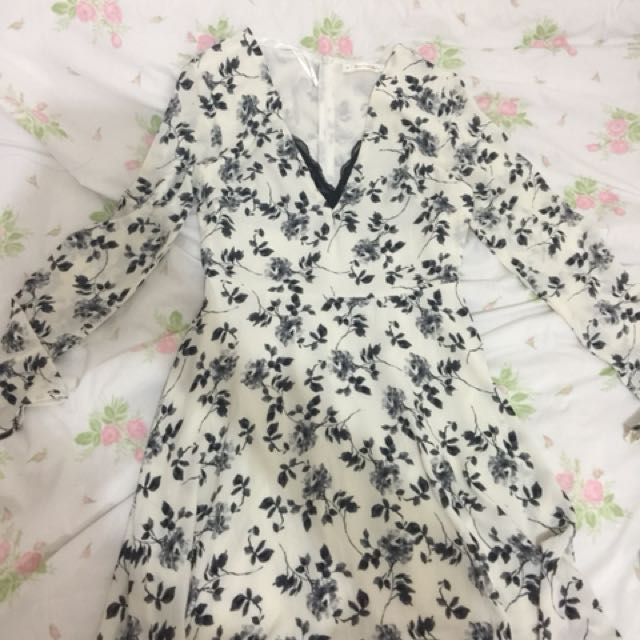 Black and White Floral Summer Dress