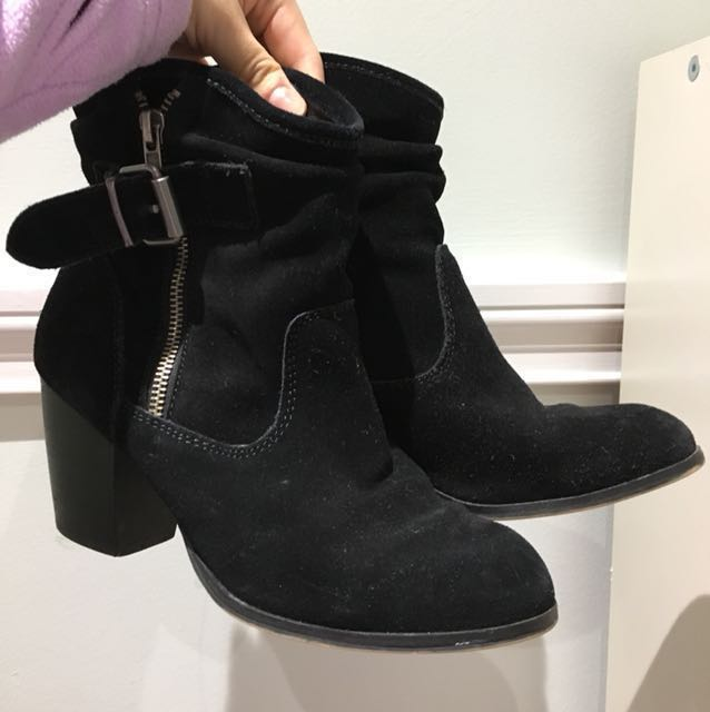 Black ankle boots with heel