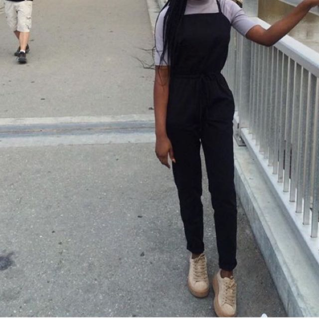 Black Cotton Blend Overall