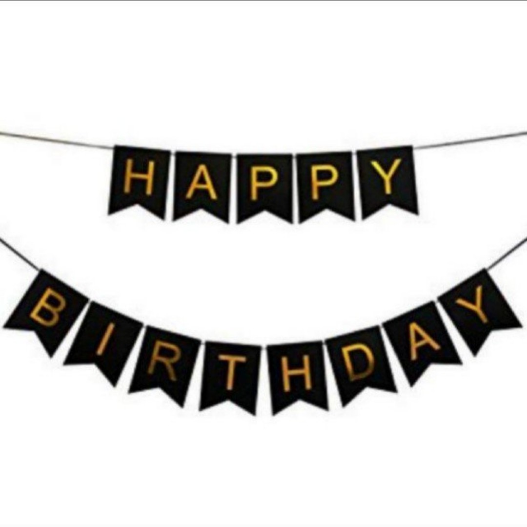 Black Happy Birthday Banner Bunting ...