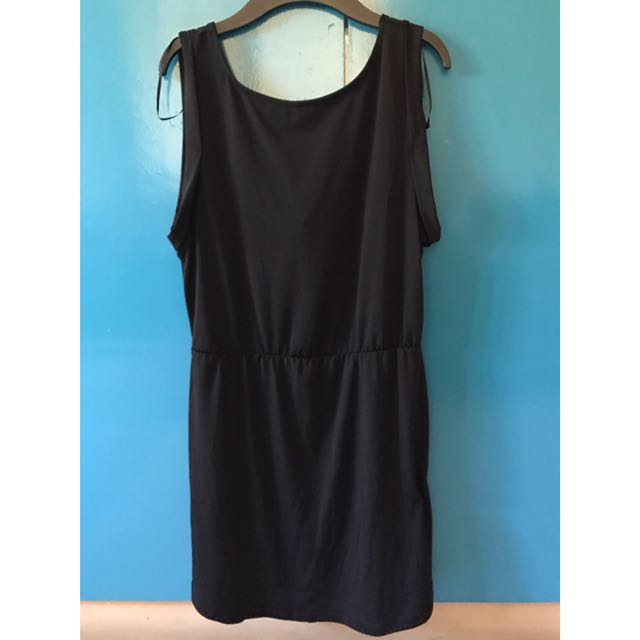 Black jersey low back tunic dress