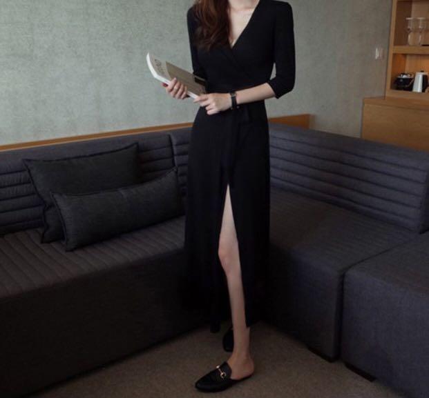 Black Long Sleeve Side Slit Maxi Dress Sexy