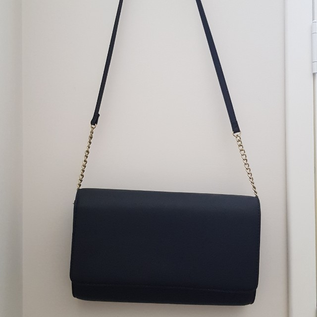 Black Shoulder Bag with Gold Chain detail