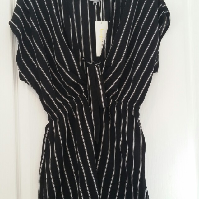 Black/white striped playsuit