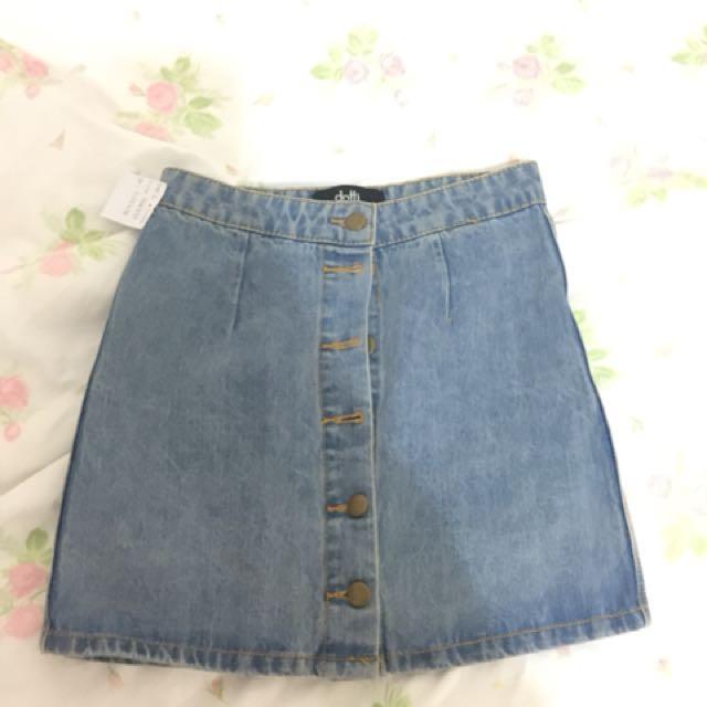 Blue Denim Skirt A line button down