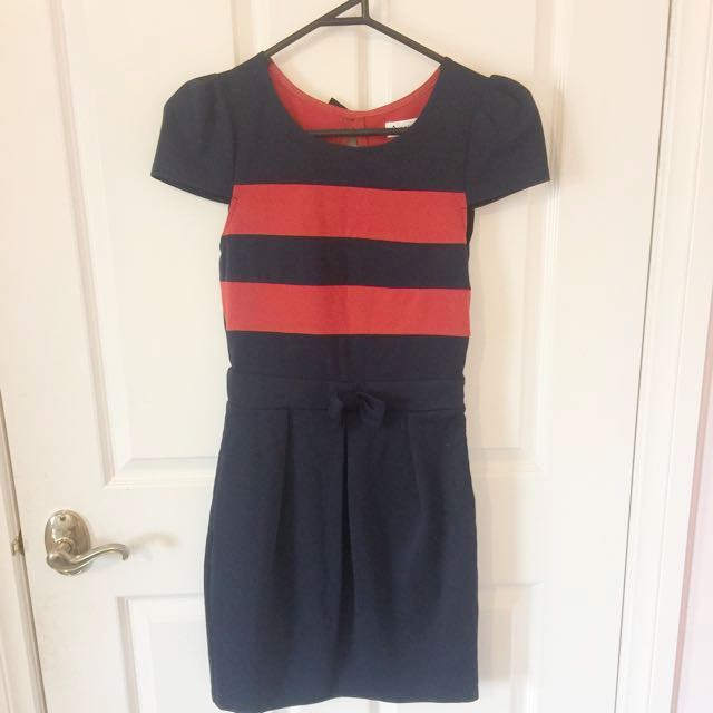 Blue/red dress with bows