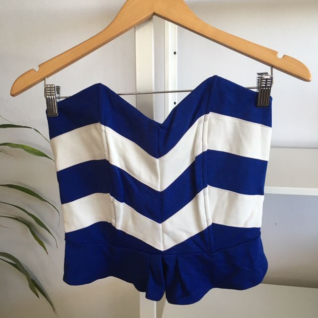BRAND NEW Blue and White Stripe Peplum Bustier Top