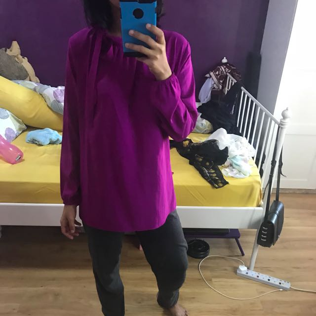 Bright purple top blouse