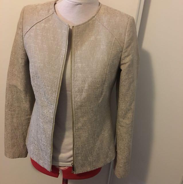 Calvin Klein zip blazer beige cream gold zipper size 2 - fits medium