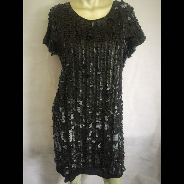 Cohen et Sabine Faux Leather Sequin Dress Size 12