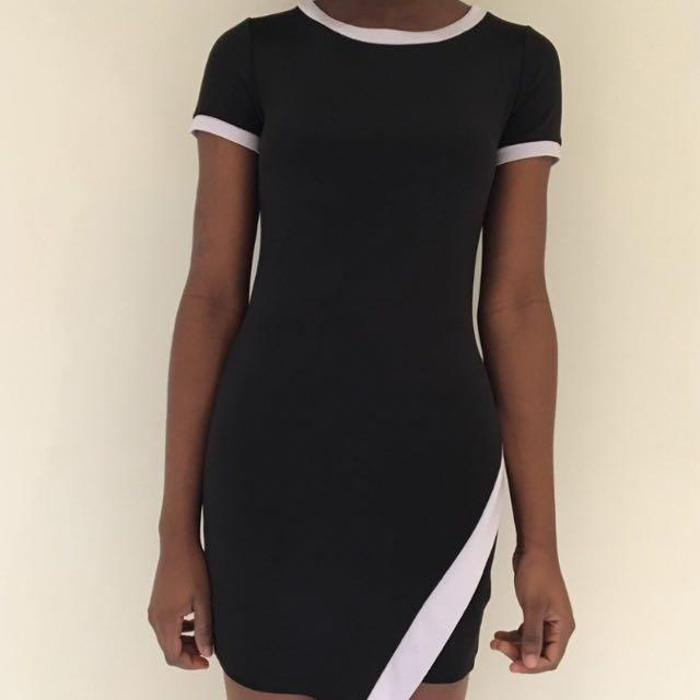 Colour Block Black And White Dress