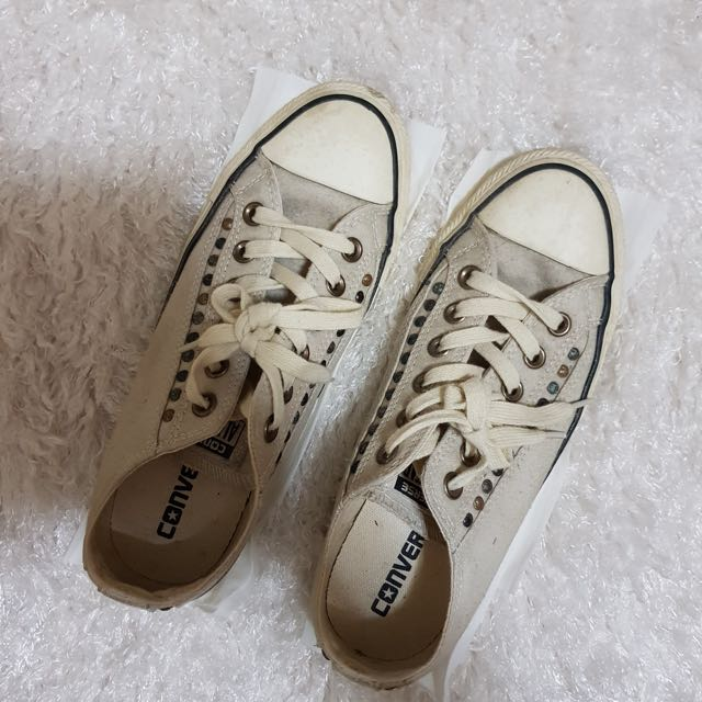 Converse beige shoes with studs