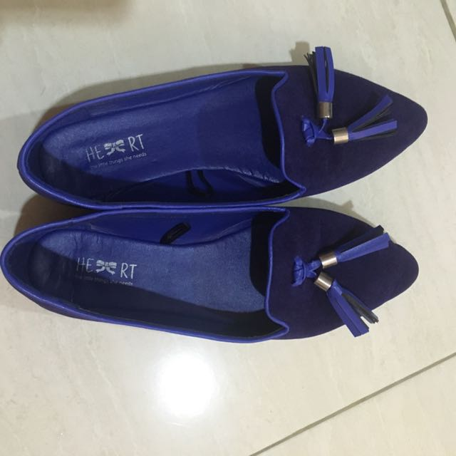 Dark Blue Suede Flat Shoes