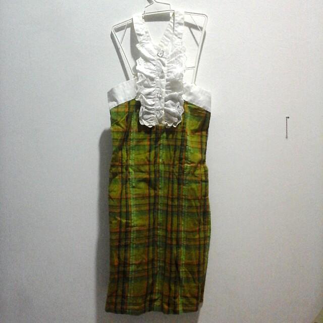 Dress kotak2 hijau lucu (100rb 3)