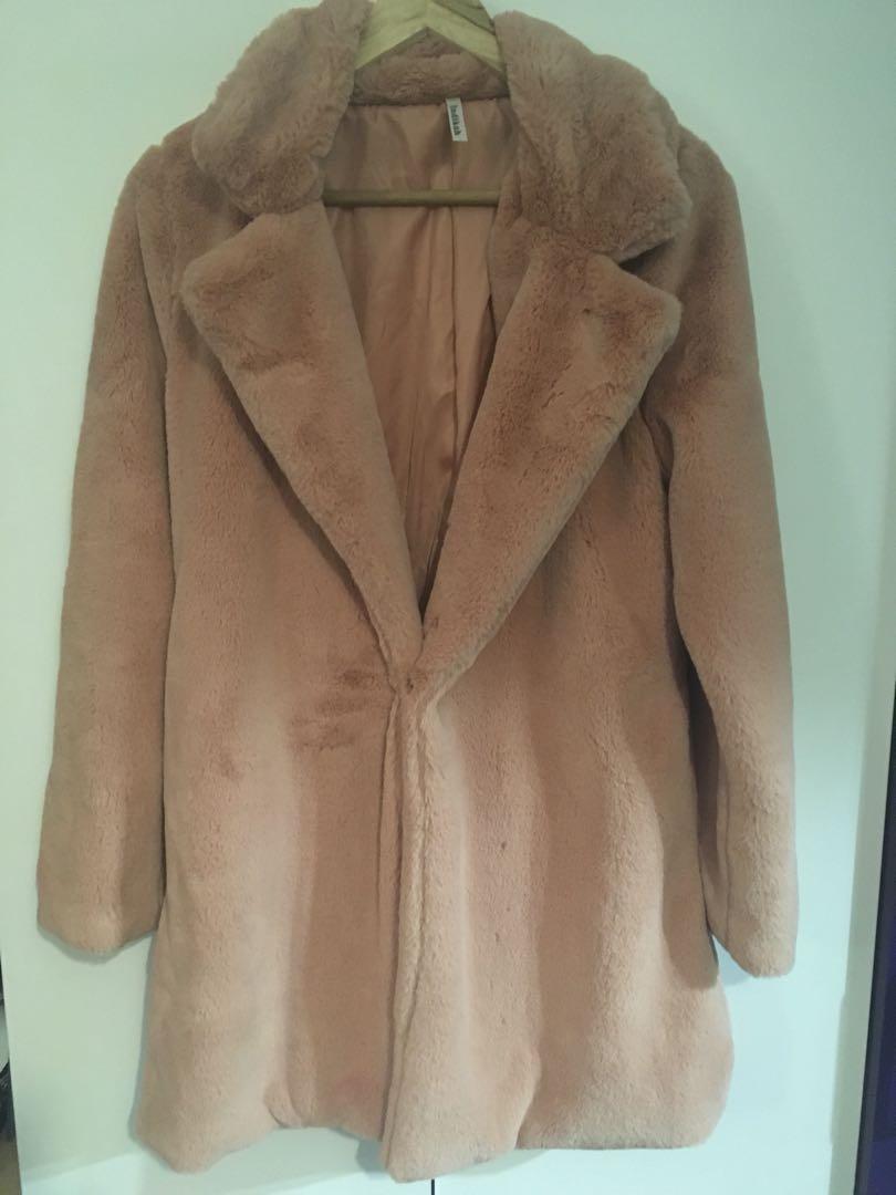 Dusty pink faux fur coat