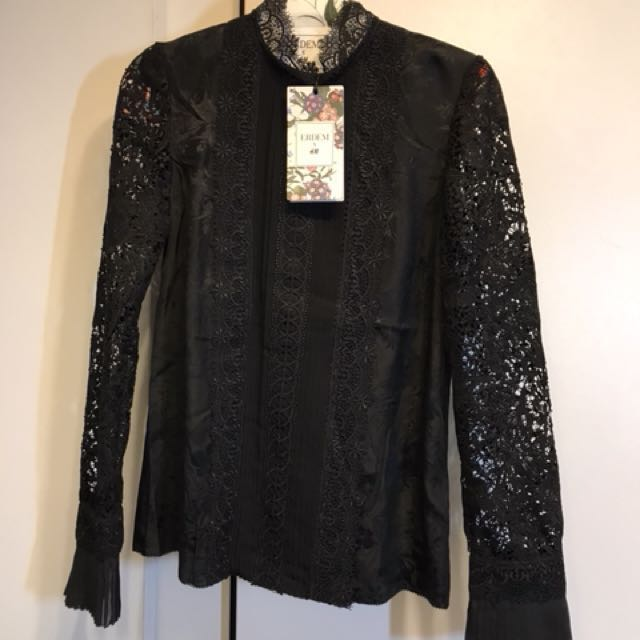 04cdb35e736a00 ERDEM HM Silk Blouse with Lace - US 4