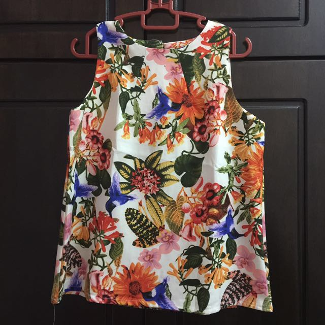 Floral Sleeveless Blouse Top