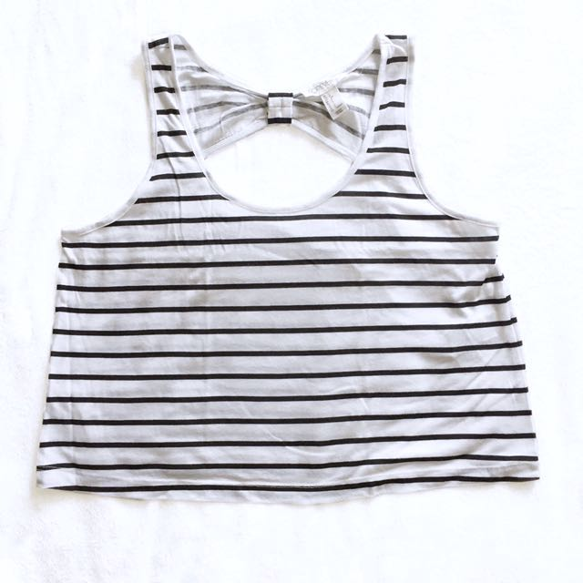Forever21 Striped Ribbon-Back Crop Top