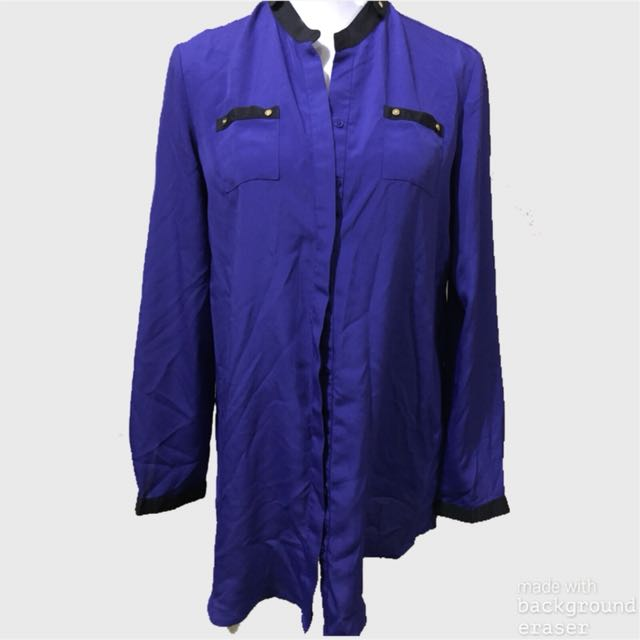 G2000 long sleeve violet and black polo
