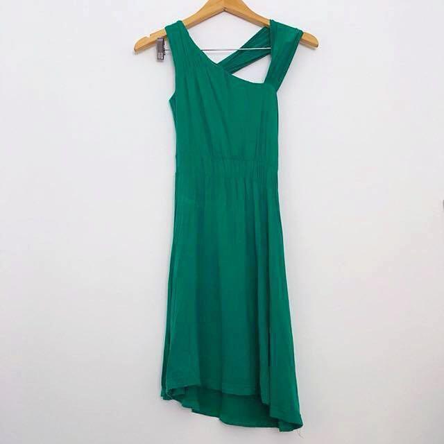 Green Asymmetrical Boho Dress