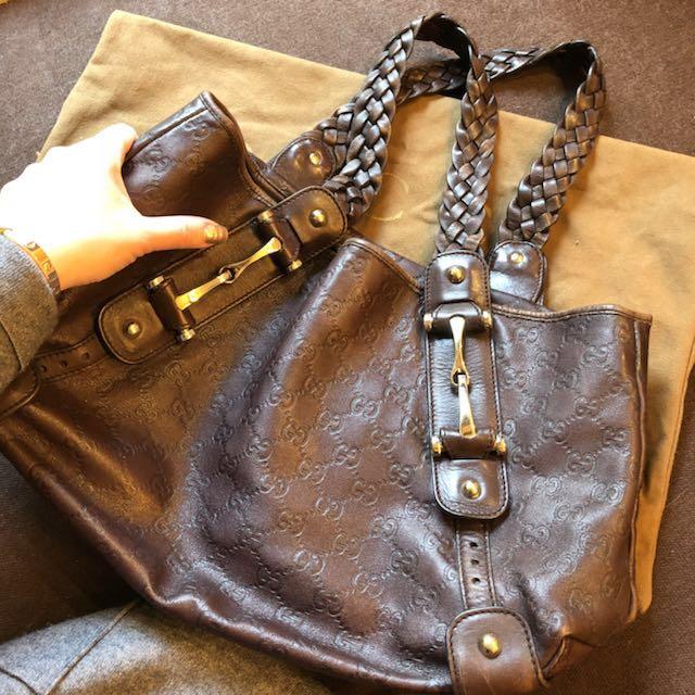 Gucci 咖啡色牛皮側背包