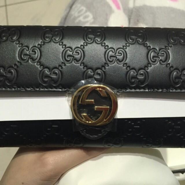 Gucci 古馳 壓紋 長夾 皮夾