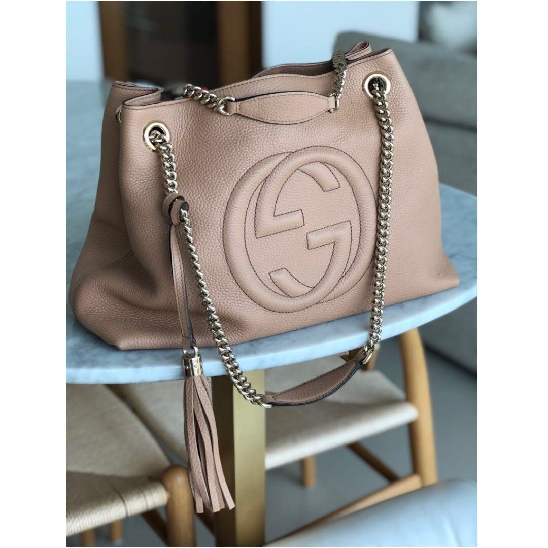3191ca11dcae Gucci Soho Medium Tote - Pebbled Leather - Golden Beige, Women's Fashion,  Bags & Wallets on Carousell