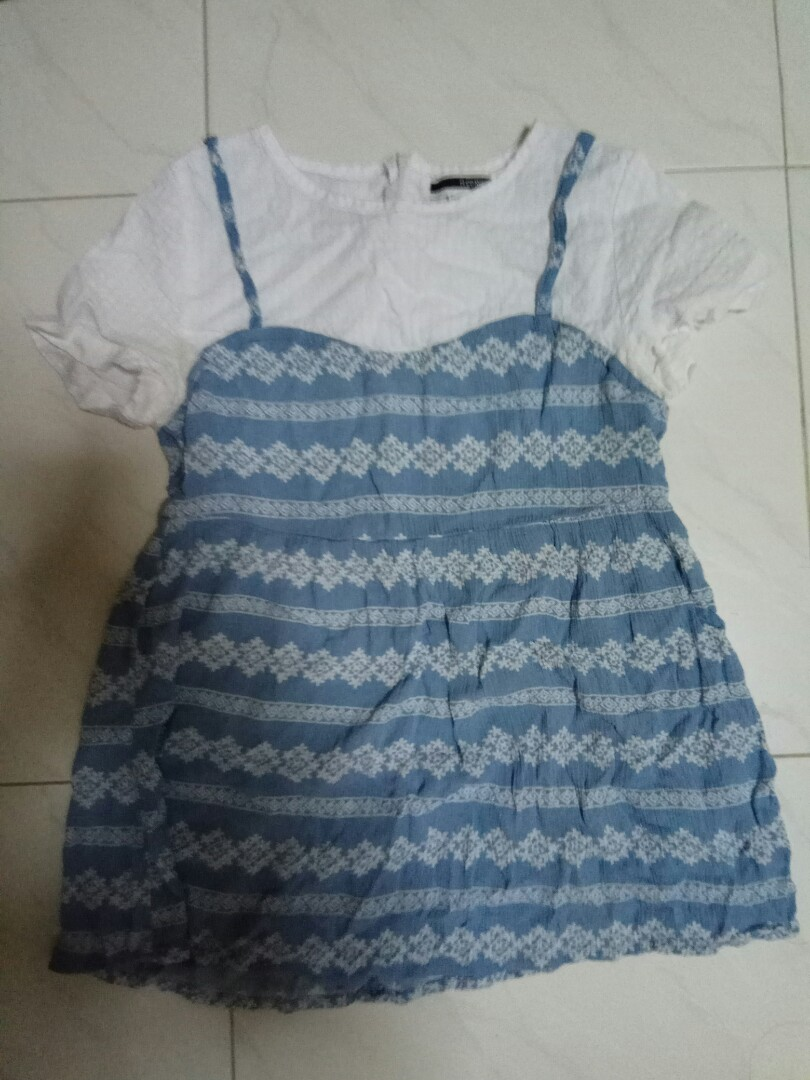 H:CONNECT Blue and White Top