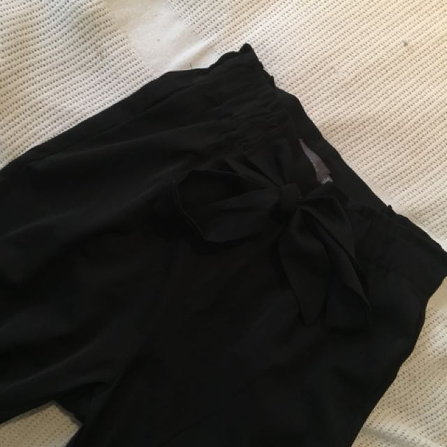 High waisted tie up pants