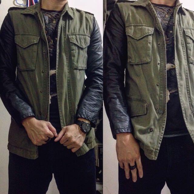 (男)H&M軍綠皮外套