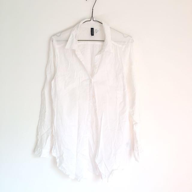 h&m 長版夏日棉麻質感薄料長袖襯衫 純白