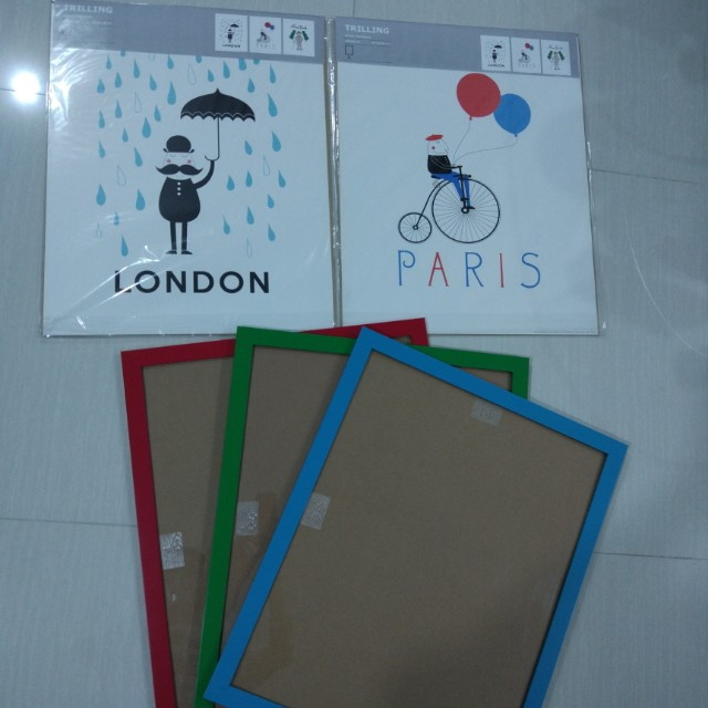 Ikea Artwork 3pcs New York London Paris Furniture Home Decor On