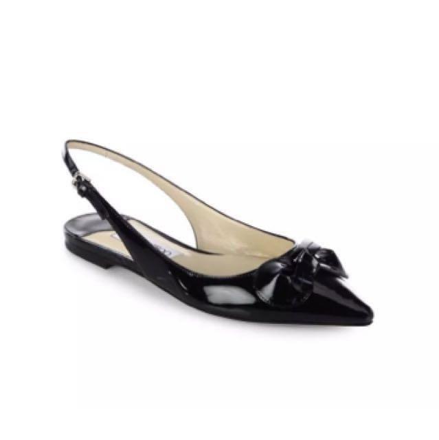 Jimmy Choo Black Patent Leather Point Toe Slingback Flats Size 36 BNIB