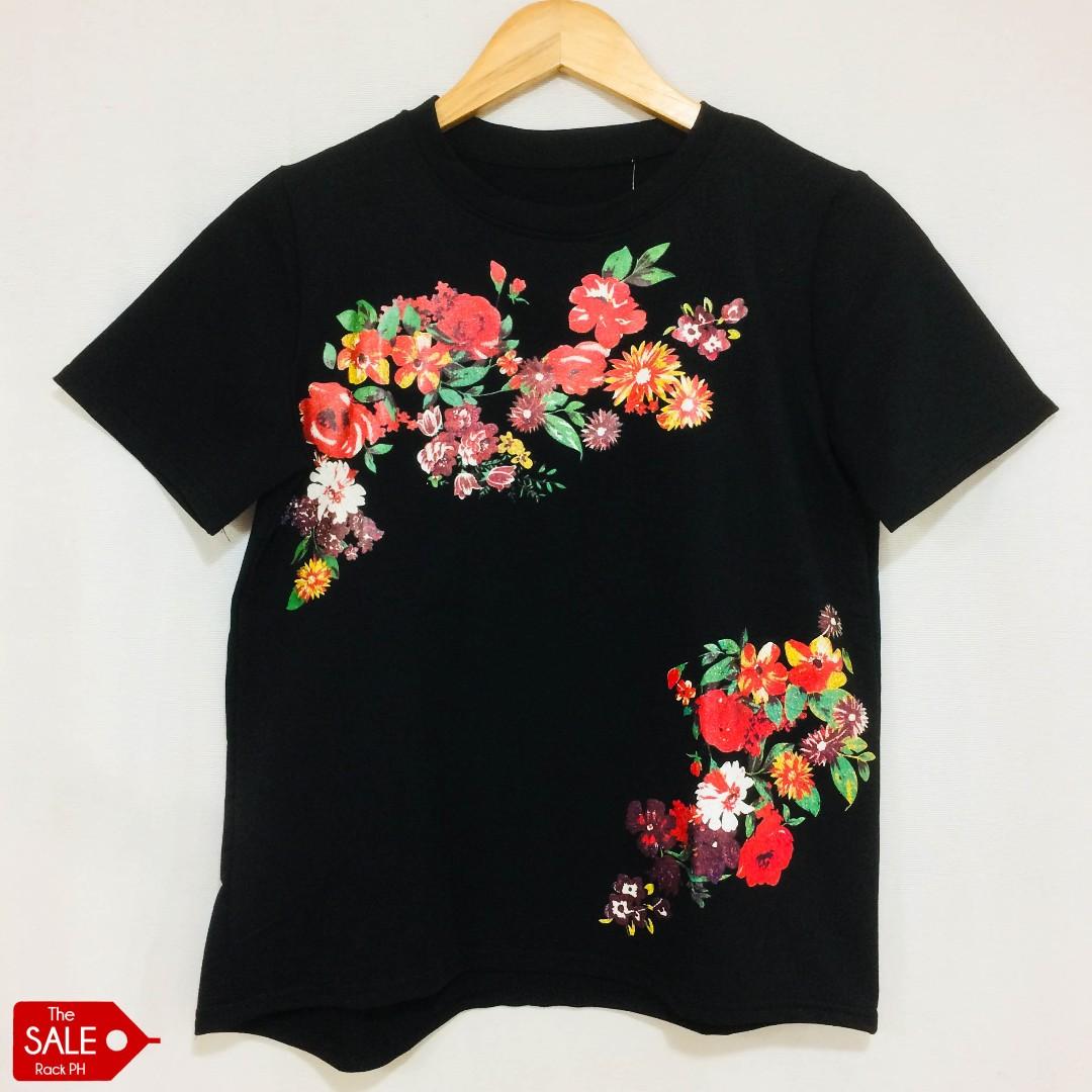 Korean Black Floral Printed Shirt