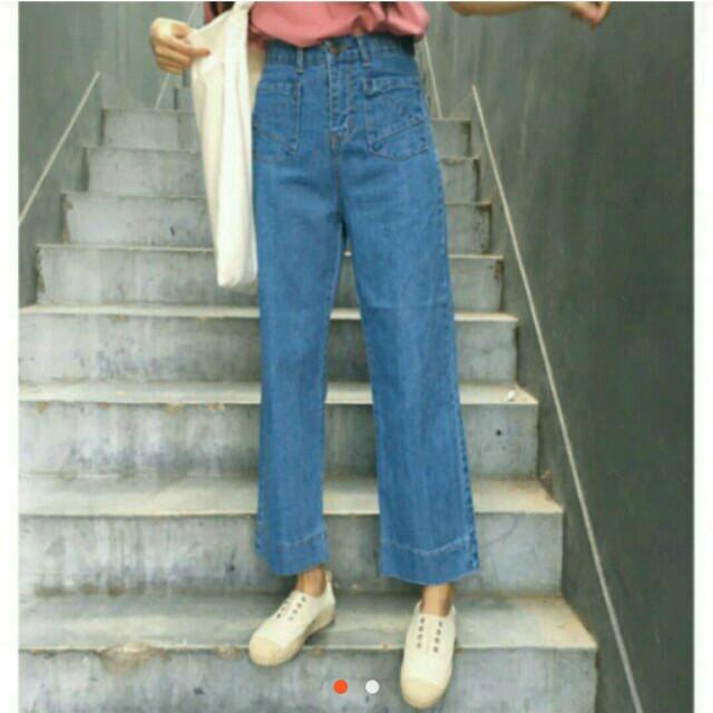 牛仔XL號寬褲