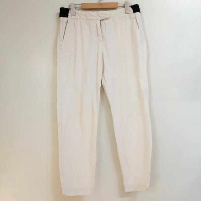 正品法國鱷魚LACOSTE女款米白色休閑褲長褲老爺褲九分褲 36碼
