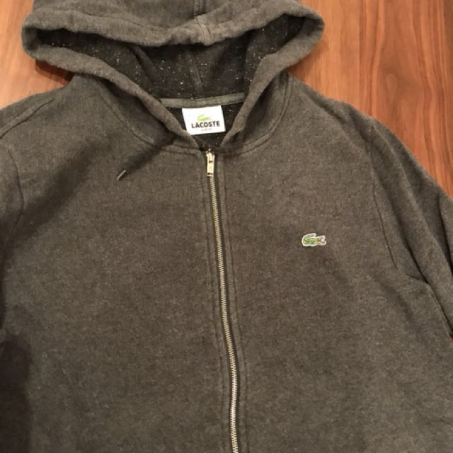 """96ac32577b Lacoste Zip Hoodie - """"Black/Grey"""", Men's Fashion, Clothes on Carousell"""