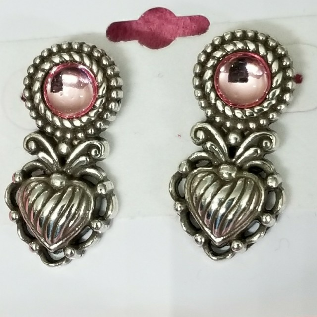 LGently Used  Authentic Brighton Pink Heart Earrings