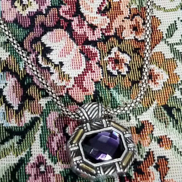 Like New Reversible Authentic Brighton  Amethyst In Color Necklace