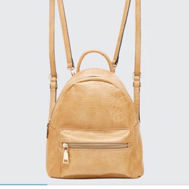 LOUENHIDE Bertie Croc Backpack in Camel